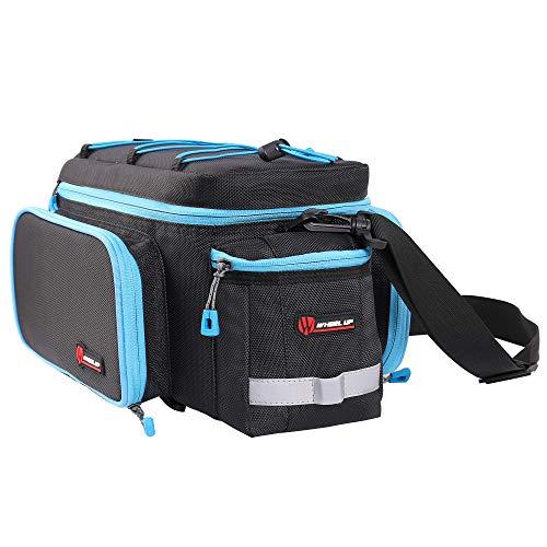 Fahrrad Gepäckträgertasche mit Kamera Tasche Wasserdicht Fahrradtasche hinten Rahmentasche Groß Radtasche mit Regenschutz MTB Rennrad Umhängetaschen Satteltaschen - Schwarz(Blau