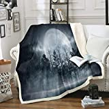 Loussiesd - Manta de forro polar para Galaxy Moon Sherpa para decoración de dormitorio, decoración de dormitorio, aire acondicionado, tamaño King 87 x 94 pulgadas