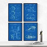 Nacnic BLAU Basketball Patent Poster 4er-Set. Vintage Stil