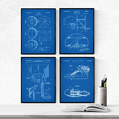 Nacnic BLAU Basketball Patent Poster 4er-Set. Vintage Stil Wanddekoration Abbildung von Turnschuhe, Basketballnetz und Alte Erfindungen. Verschiedene geometrische Sport Bilder ohne Rahmen. Größe A4.