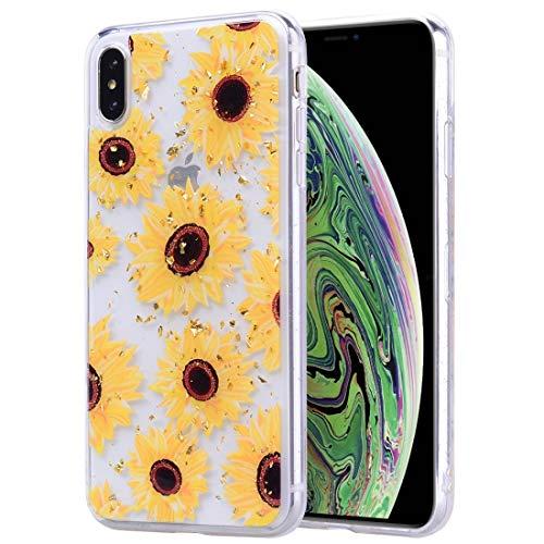 KIOKIOIPO-N Mode Goldfolien Dropping Kleber TPU weiche Schutzhülle for das iPhone XS Max (Pattern : Sunflower)