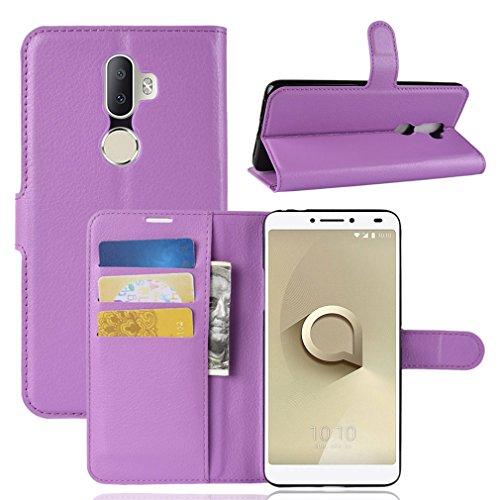 LMFULM® Hülle für Alcatel 3V 5099D (6 Zoll) PU Leder Magnet Brieftasche Lederhülle Litschi Muster Standfunktion Ledertasche Flip Cover für Alcatel 3V Lila