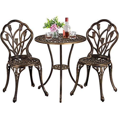 Yaheetech Garden Bistro Set Round Aluminum Patio Table with 2 Chairs - Outdoor Garden Furniture Set,Bronze