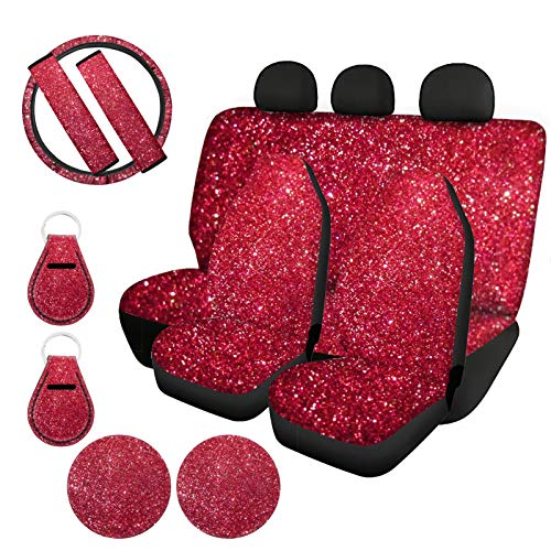 HUIACONG Red Shiny Print Car Seat Covers Girly Women Full Set with Bling Steering Wheel Cover/Seat Belt Covers/Key Chains/Cup Coasters,Front Seat/Rear Backrest Cover Split Bench Protector