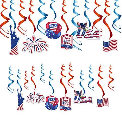 SUNBEAUTY USA Deco 24-Set Amerika Unabhängigkeitstag Dekoration Nationalflagge American US Flag