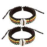 NOVARENA 2 Pcs Jamaican Rasta Beads with Cowrie Shells Bracelets for Men Women Beaded Bracelets Multi Layer Stackable Ethnic Tribal African Traditional (2 Pcs Jamaican Rasta Beads with Cowry Shells)