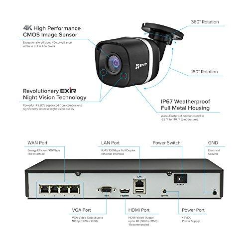 EZVIZ 4K UltraHD 8MP Outdoor IP PoE Surveillance System, 4 Weatherproof UHD EXIR Security Cameras