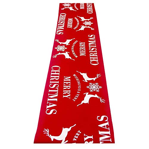 DegGod Linen Christmas Table Runner, 11 X 108 Inches Red Reindeer Xmas Tablecloth Extra Long Tablerunner for Christmas Dinner Party Holiday Wedding Birthday Decoration Ornament