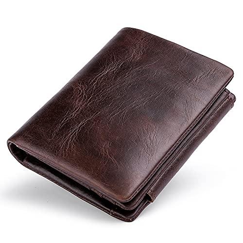 Anti-Diebstahl Herren Geldbörse Retro Drei Falten Visitenkartenhalter Geldtasche Geldbörse Vintage Echt Leder Geldbörse Männlich