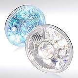 Autozensation 7' H6024 Round Crystal Chrome Projector Headlights w/ H4 Bulbs