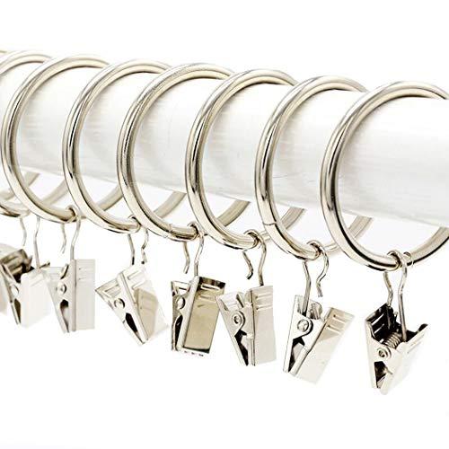 Lot de 20 boucles de rideaux en métal argenté traité par galvanoplastie, avec clips, diamètre Intérieur : 38 mm