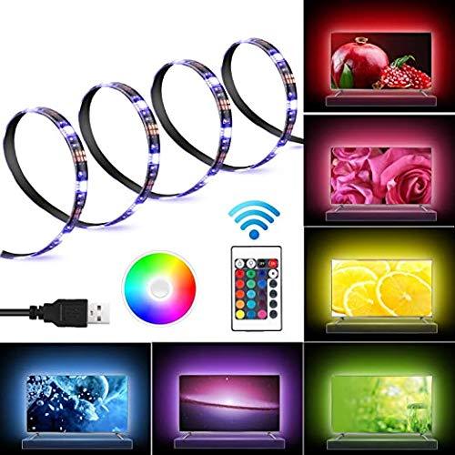 LED TV Retroilluminazione RGB 2M Aueide Striscia Luminosa 5050 SMD USB Alimentata 16 Colori 4 Modalità Impermeabile con Telecomando per TV, PC Monitor [Classe di efficienza energetica A]