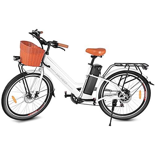 ANCHEER Bicicletta Elettrica, Bici elettriche 20'/26' Ebike per Adulti con Motore 250W, Bici da Pendolarismo Batteria 36V 8Ah/12,5 Ah, Elettrica Bici da Città/Mountain Professionale 7/21 Velocità