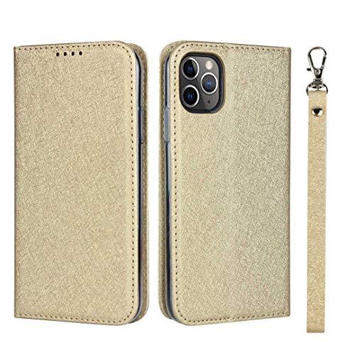 GIMTON iPhone 11 Pro Hülle, Brieftasche Hülle mit Klapp Ständer und Magnet Verschluss für iPhone 11 Pro, Stoßfest Kratzfestes PU Leder Schutzhülle, Gold