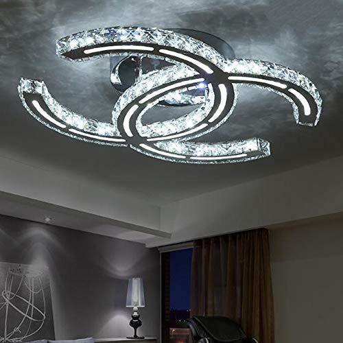 39W LED Plafoniera Moderna Semplice Pranzo Soggiorno da letto Illuminazione a soffitto K9 Lampada da soffitto in cristallo trasparente Elegante lampada a specchio in L58cm×W41cm Dimmerabile