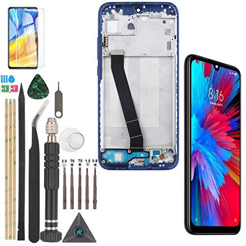 YWL-OU Reemplazo de Pantalla para Xiaomi Redmi 7 LCD con digitalizador de Pantalla táctil con Pantalla de Marco + con Kit de Herramientas (Azul con Marco)