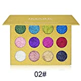 Glitters Eyeshadow Palette, Spdoo 12 Colors Professional Makeup Long Lasting Shimmer Eyeshadow Powder Palette Mineral Pressed Glitter