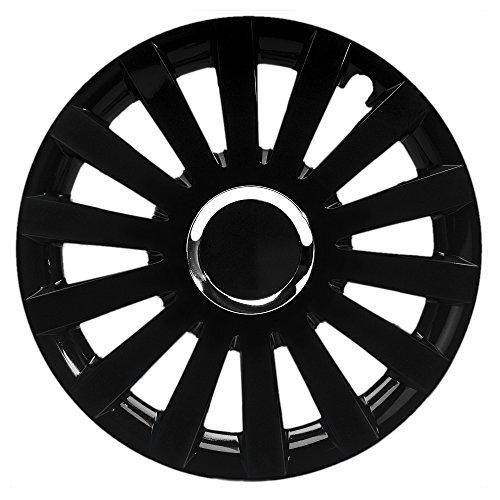 CM DESIGN 15Pulgadas Universal Tapacubos Sail Black Plus (Negro). Top Tapacubos con Anillo Cromado Apto para Casi Todos los vehículos.