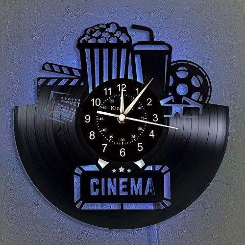 Vintage Cinema and Popcorn Vinyl Record Wall Clock, Home Theater 12' Vinyl Clock, Original Home Decor, Christmas Birthday Gifts Ideas Handmade Home Wall Decor (Light)