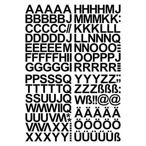 Leicht anzubringende Buchstaben Aufkleber 4cm in schwarz glänzend - 150 HOCHWERTIGE KLEBEBUCHSTABEN - Buchstaben zum aufkleben abc Alphabet - Wasser und wetterfest ideal für den Außenbereich