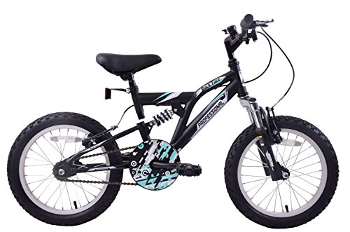 Professional Rock Face 16' Wheel Dual Suspension Boys Kids Mountain Bike Matte Black Single Speed Age 5+