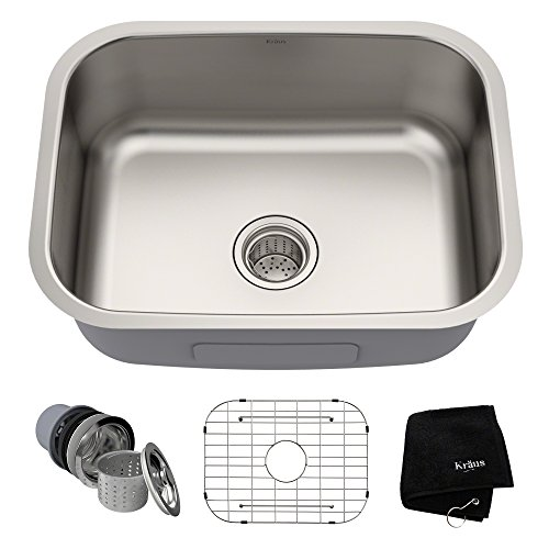 Undermount Stainless Steel 23 in Single Bowl Kitchen Sink Kit