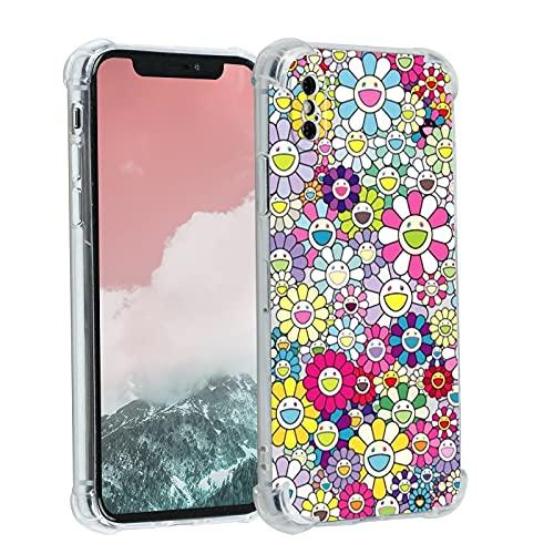 Takashi Murakami Happy Flower durchsichtige mit Design, für Mädchen & Frauen, ästhetische Blume, Hippie, coole Hülle iPhone Xs Max, weiches TPU, niedlich, trendig, Schutzhülle Geschenke