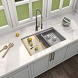 Product Image of the MENSARJOR 30' x 19' Workstation Ledge Handmade Undermount Kitchen Sink SUS304 Stainless Steel 16 Gauge Big Single Bowl Bar or Outdoor