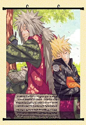 Home Decor Trendy Handsome Anime Art Cosplay Poster with Jiraiya And Naruto Naruto Shippuden Anime Wall Scroll Poster Fabric Painting 24 X 36 Inch (60cm X 90 cm)