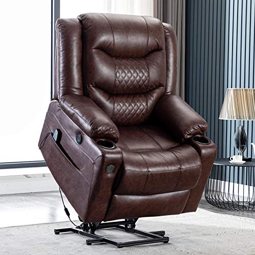 Lift Chair Electric Power Recliners for Elderly,EVER ADVANCED PU Leather Massage Heat Lazy Boy Sofa,Cup Holders and USB Port,Remote,Heavy Duty Capacity to 350lb,Office,Living Room,Bedroom,Brown