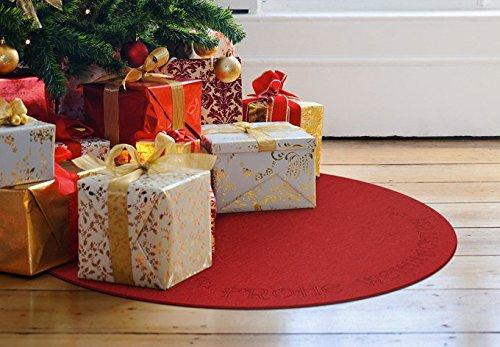 K&L Weihnachtsbaumdecke, Weihnachtsbaumteppich - rot aus Filz - Frohe Weihnachten (mit Schriftzug) - zum Schutz für den Boden - 49 cm Durchmesser - Wall-Art