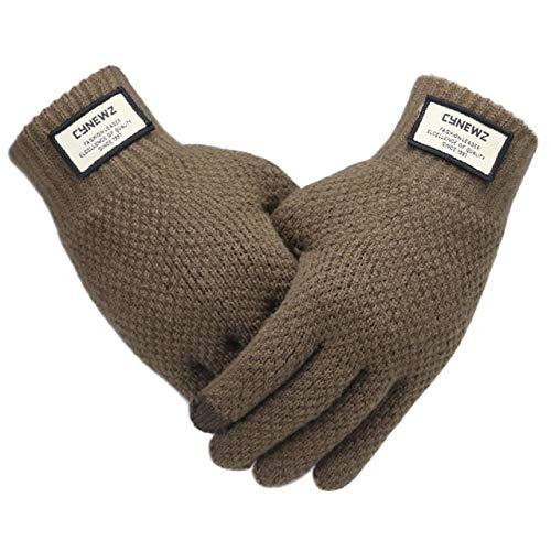Winter Männer Strickhandschuhe Touchscreen Hochwertige männliche Handschuhe verdicken warme Feste Männer Business-Handschuhe Herbst-Coffee-One Size