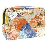 Neceser de Maquillaje Estuche Escolar para Cosméticos Bolsa de Aseo Grande Tejido Textil Blooming Peony Floral Colorful