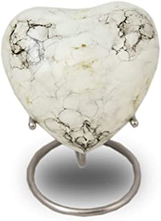 OneWorld Memorials Marble Style Bronze Keepsake Urns - Extra Small - Holds Up to 3 Cubic Inches of Ashes - White Cremation Urn for Ashes - Engraving Sold Separately