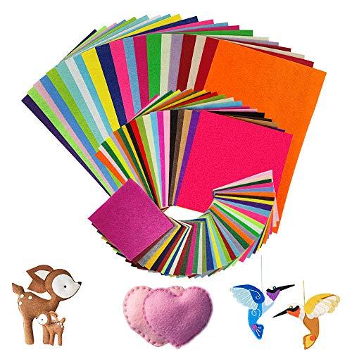80pcs Felt Fabric Sheets -Textile Fabrics DIY Craftwork, 40 Assorted Colors Used for Sewing and DIY Crafts,Christmas Ornament Crafts for Children Nonwoven (20pcs/20*30cm,20pcs/15*15cm,40pcs/10*10cm)