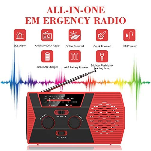 Emergency Solar Hand Crank Portable Radio, NOAA Weather Radio for Household and Outdoor Emergency with AM/FM, LED… 4