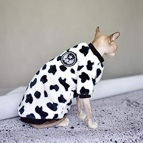 NELIT Sphynx Katzenkleidung Katzenbekleidung Doppelseitiger Korallenvlies Kuhstil Winter verdickter Warmer Pullover