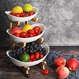 Frutero de 3 Pisos Cerámica, Cesta de Frutas de Bambú Cocina Mostrador y Organizador para Verduras y Frutas, Soporte de Frutas con Cuencos