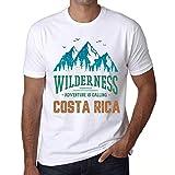 Hombre Camiseta Vintage T-Shirt Gráfico Wilderness Costa Rica Blanco