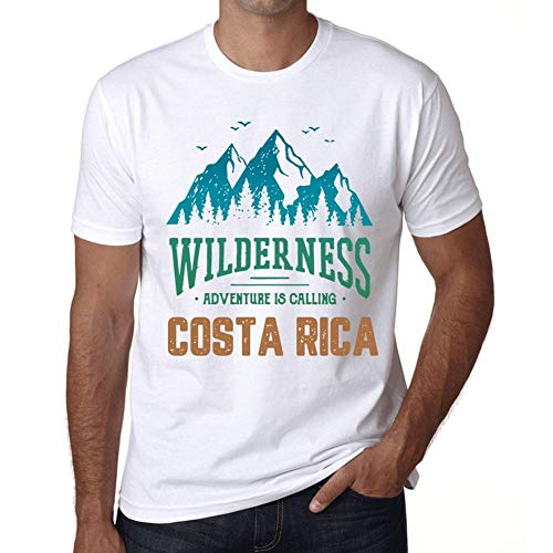 Hombre Camiseta Vintage T-Shirt Gráfico Wilderness Costa Rica Blanco