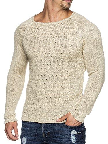 Tazzio Styler Maglione invernale lavorato a maglia, doppio motivo, ampio girocollo, 16404 Stone XL