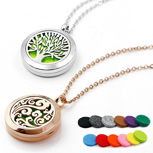 RoyAroma 25MM Aromatherapy Essential Oil Diffuser Necklace Cloud Tree Patterns Pendant Locket Jewelry,24'Adjustable Chain Stainless Steel Perfume Necklace