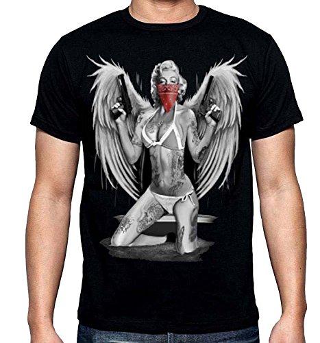Marilyn Monroe Bandana, Pistols, Wings Men's T-Shirt Black S-3XL (XL, Black)