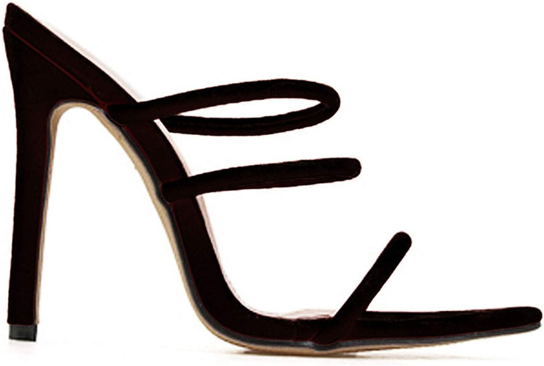 Women Sandals High Heels 11.5 cm Peep Toe Summer Flock Party shoes Slip-On Sandalie