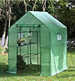 VEIKOU Walk-in Greenhouse PE Cloth Cover Garden House Succulent Plants Flowers Green Plant Insulation Family (56''x56''x77'')