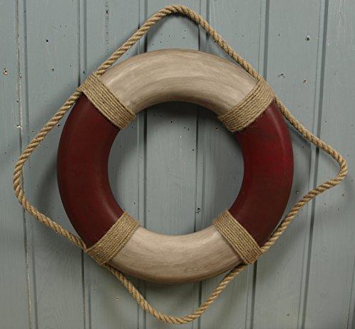 Unbekannt Deko Rettungsring Antik-Look rot/beige Durchmesser ca. 36cm Maritime Dekoration