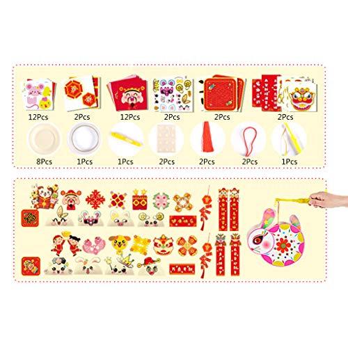 yasu7 49 Stück Mond Neujahr 2021 Dekorationen, einschließlich Frühlingsfest Paare Set Frühling Paare Papier Rote Laternen Kuh Rote Umschläge Rote Briefumschläge Chinesischer Segen Fensteraufkleber