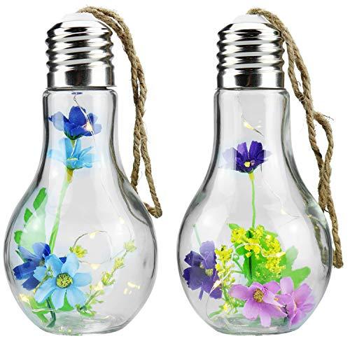 com-four® 2 LED Deko-Glühbirnen aus Glas mit künstlichen Blumen, Hänge-Deko [Auswahl variiert] (002 Stück - Deko-Glühbirne)