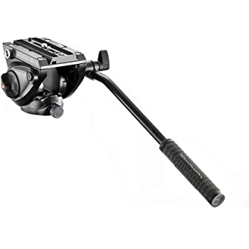 Manfrotto MVH500AH, Lightweight Fluid Video Head with Flat Base, Sliding Plate for Rapid Camera Connection, Supports Multiple Tripods