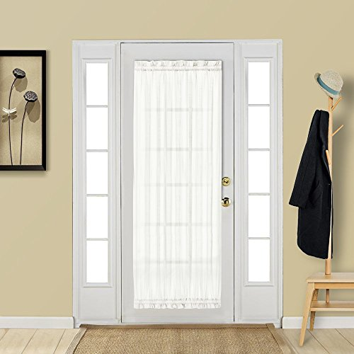 Aquazolax Rod Pocket Sheer French Door Curtain Elegant Solid 54x72 Inch Voile Drapery Patio Door Panel with Tieback - 2 Panels, White